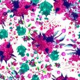 Estampado de flores inconsútil de la acuarela del vector Flores Fotos de archivo libres de regalías