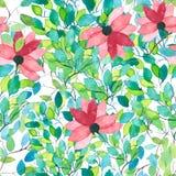 Estampado de flores inconsútil de la acuarela Textura de las flores Imágenes de archivo libres de regalías