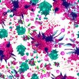 Estampado de flores inconsútil de la acuarela Textura de las flores Imagen de archivo