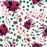 Estampado de flores inconsútil de la acuarela Textura de las flores Fotos de archivo