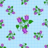 Estampado de flores inconsútil de la campanilla en fondo ajustado azul claro Foto de archivo libre de regalías