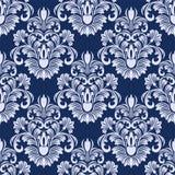 Estampado de flores inconsútil del damasco en colores azules Fotografía de archivo