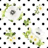 Estampado de flores inconsútil del estilo de los puntos Ilustración del vector Fotografía de archivo libre de regalías