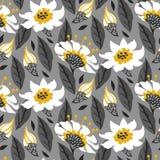 Estampado de flores inconsútil del vector con las flores de la margarita Foto de archivo libre de regalías