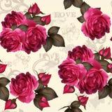 Estampado de flores inconsútil del vector hermoso con las rosas stock de ilustración