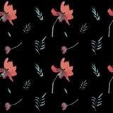 Estampado de flores inconsútil del vintage de la acuarela con las flores rojas libre illustration