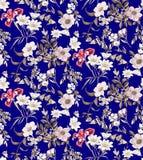 Estampado de flores inconsútil en fondo azul marino stock de ilustración