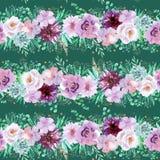 Estampado de flores inconsútil de la acuarela en verde menta y colores violetas purpúreos claros en documento de base verde oscur ilustración del vector