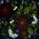 Estampado de flores inconsútil de moda moderno de las dalias de Borgoña y de las peonías blancas libre illustration