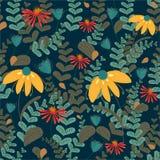 Estampado de flores incons?til del vector en fondo coloreado oscuro Modelo de las hojas y de flores stock de ilustración