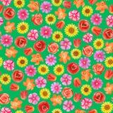 Estampado de flores incons?til en fondo verde Diversas flores brillantes stock de ilustración