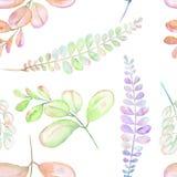 Estampado de flores inconsútil con las ramas púrpuras, rosadas y verdes abstractas de la acuarela Fotos de archivo libres de regalías