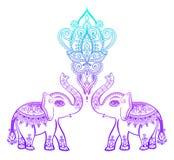 Estampado de flores indio con el elefante, diseño del tatuaje del mehndi de la alheña ilustración del vector