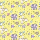 Estampado de flores ingenuo amarillo lindo del garabato ilustración del vector