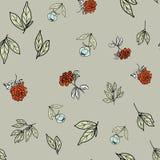 Estampado de flores, flores de la peonía y hojas inconsútiles en un fondo gris, vector Fotos de archivo libres de regalías