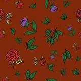 Estampado de flores, flores de la peonía y hojas inconsútiles en un fondo rojo, vector Foto de archivo