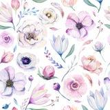 Estampado de flores lilic de la acuarela de la primavera inconsútil en un fondo blanco Flores rosadas y color de rosa, decoración