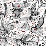 Estampado de flores negro del vector y rojo inconsútil libre illustration