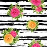 Estampado de flores rayado inconsútil del estilo Ilustración del vector Imagenes de archivo