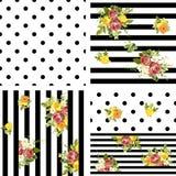 Estampado de flores rayado y de los puntos inconsútil del estilo Illustrat del vector Foto de archivo libre de regalías