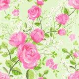 Estampado de flores retro con las rosas ilustración del vector