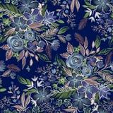 Estampado de flores silenciado oscuro Imagen de archivo libre de regalías