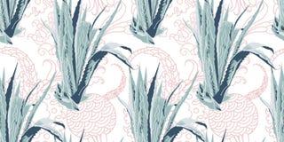 Estampado de flores tropical exótico inconsútil, flor del áloe stock de ilustración