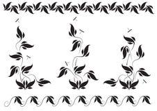 Estampado de flores y libélulas Foto de archivo
