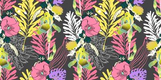 Estampado de plores artístico inconsútil, exótico floral tropical hermoso stock de ilustración