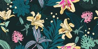 Estampado de plores artístico inconsútil, exot floral tropical hermoso Stock de ilustración