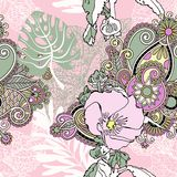 Estampado de plores artístico inconsútil, exot floral tropical hermoso Ilustración del Vector
