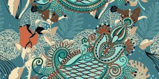 Estampado de plores artístico inconsútil de moda, Flor tropical hermosa Stock de ilustración