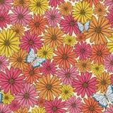 Estampado de plores colorido con la mariposa stock de ilustración