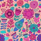 Estampado de plores del vector Textura botánica inconsútil, ejemplos detallados de las flores Todos los elementos no se cosechan  stock de ilustración