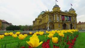 Estampado de plores de la primavera en Zagreb, Croacia