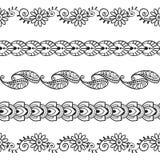 Estampados de flores inconsútiles 3 de Henna Borders Vector Set Abstract Imágenes de archivo libres de regalías