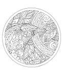 Estampados de flores y ornamentos en un círculo tatuaje Foto de archivo