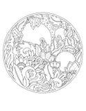 Estampados de flores y ornamentos en un círculo tatuaje Fotografía de archivo libre de regalías