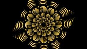 Estampados de plores giratorios de la pendiente del oro en fondo negro El ejemplo animado, hace girar los left and right, enfoque ilustración del vector