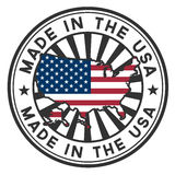 Estampe con la correspondencia, indicador de los E.E.U.U. Hecho en los E.E.U.U. Fotos de archivo libres de regalías