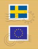 Estampille avec l'indicateur de la Suède Photo libre de droits