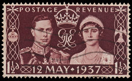 Estampille de couronnement du Roi George VI photo stock