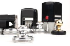 Estampille de main ronde et estampilles automatiques Photographie stock libre de droits