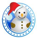 Estampille de Noël de bonhomme de neige Images stock