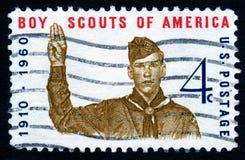 Estampille des Etats-Unis de scouts de garçon de cru images libres de droits