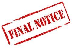 Estampille finale de notification Photo stock