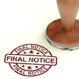 Estampille finale de notification affichant l'arriéré de paiement échu Images libres de droits