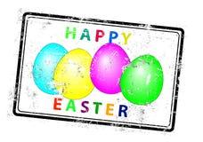 Estampille heureuse de tampon en caoutchouc de salutation de Pâques Image libre de droits