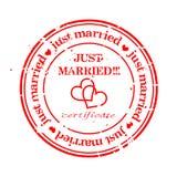 Estampille sale - juste mariée Photographie stock libre de droits