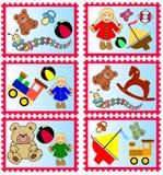 Estampilles avec des jouets Images libres de droits